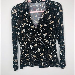 Nicki Nicole Miller size m shirt brown black